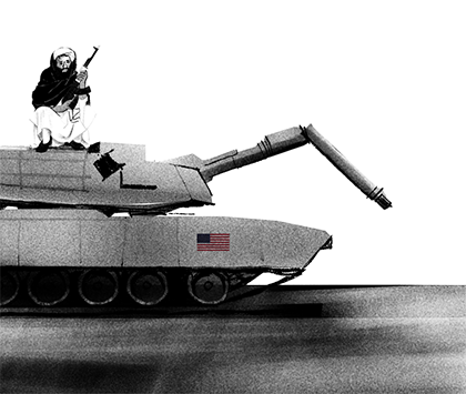 Illustration of a broken tank with a U.S. flag icon.