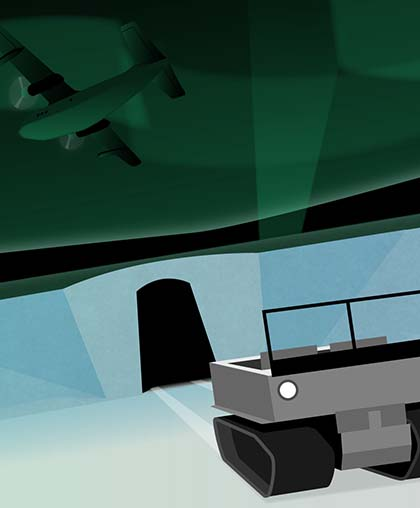 Collaged illustration of a transport plane flying over the entrance to Camp Century.