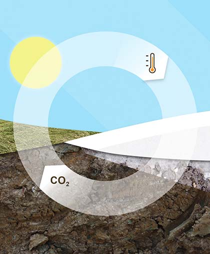 Collaged illustration showing the cycle of warming: as warmer temperatures cause permafrost to melt, which causes more CO2 to be released into the atmospher which causes warmer tempperatures.