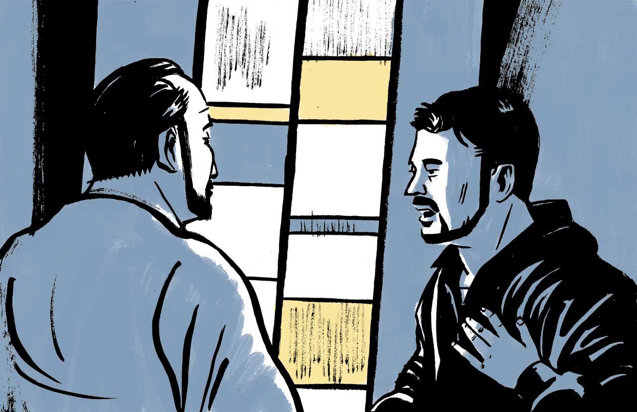 Hamzeh and Samara talking in the mosque. Comic book drawing.