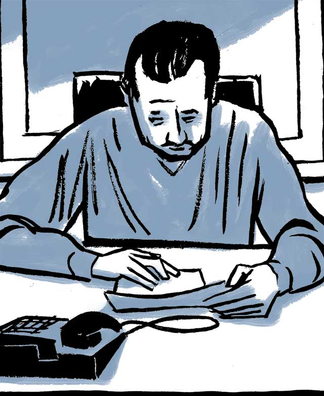Samara working at his desk when the phone rings. Comic book drawing.