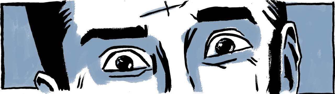 Closeup of Samara's eyes opened wide in shock. Comic book drawing.