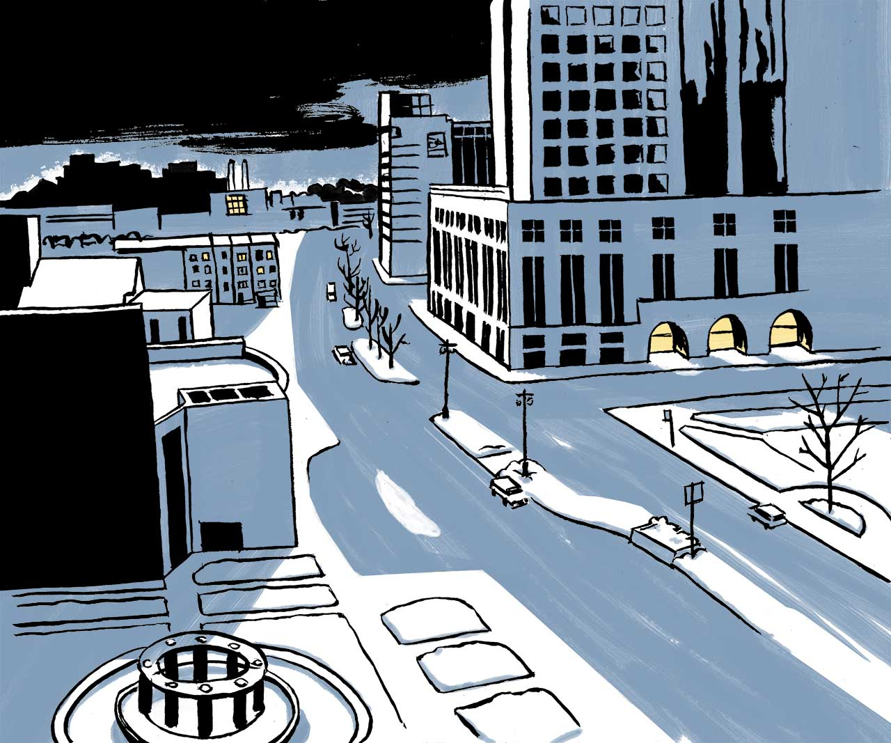 Wide shot of downtown Milwaukee. Comic book drawing.