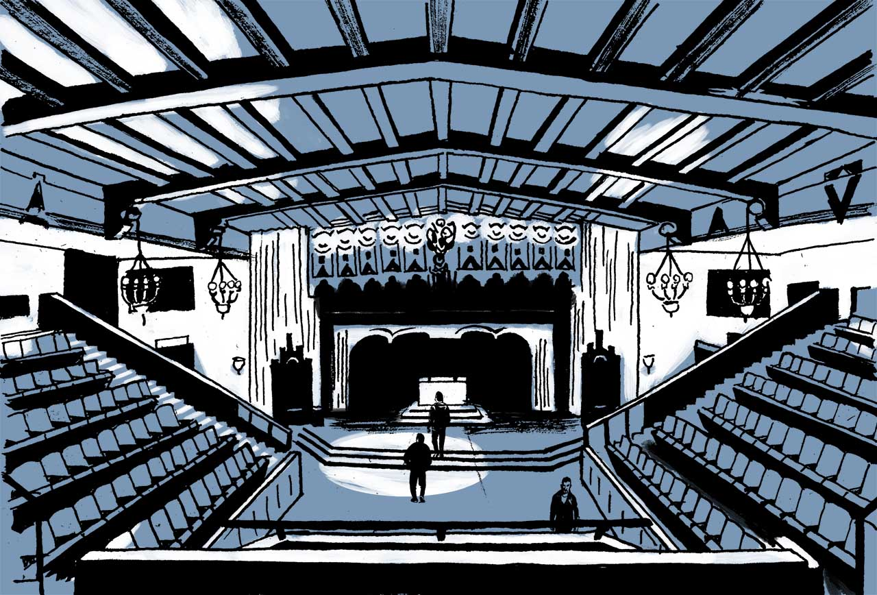 Inside the masonic temple's large meeting hall. Comic book drawing.