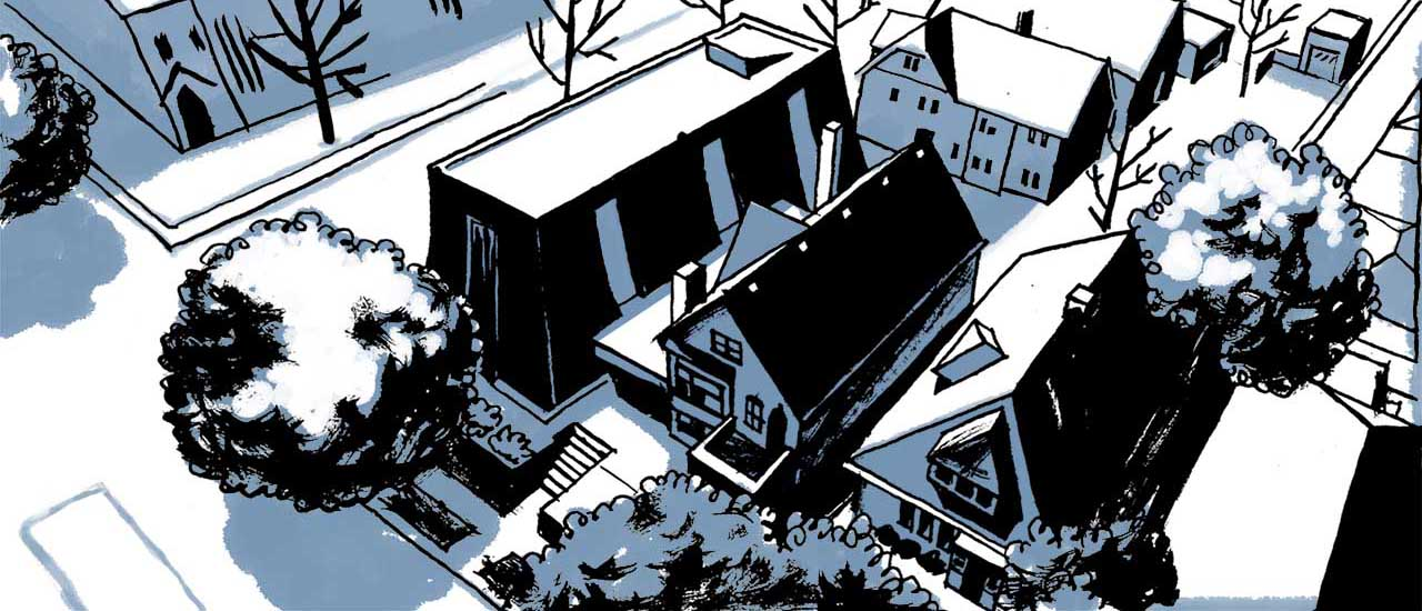 Aerial view of the Islamic Society of Milwaukee mosque and adjoining house. Comic book drawing.