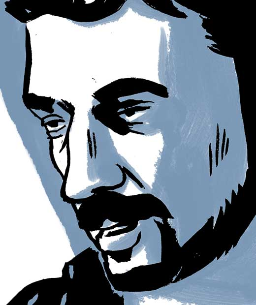 A closeup portrait of Samy Hamzeh speaking. Comic book drawing.