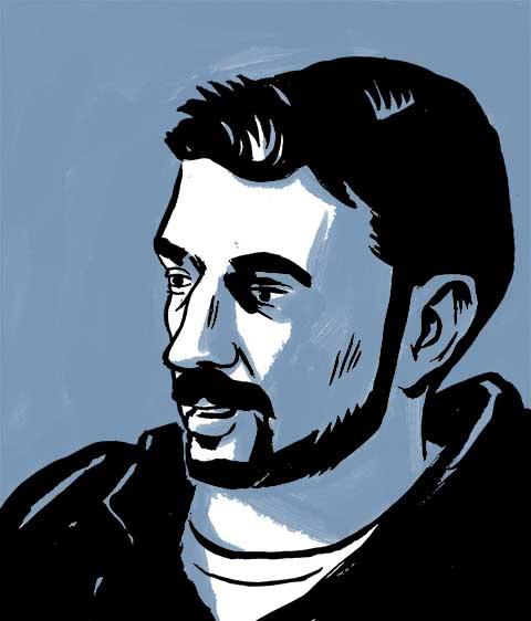 Hamzeh speaking. Comic book drawing.