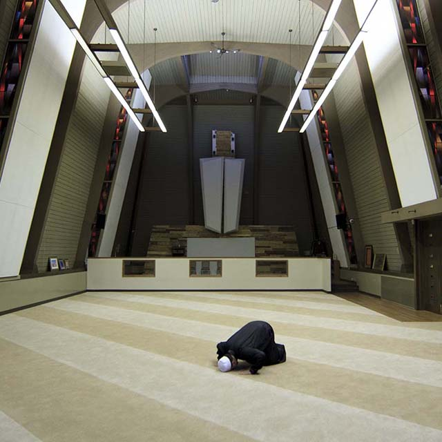 Kamil Samara at his mosque near the University of Wisconsin campus in Milwaukee.