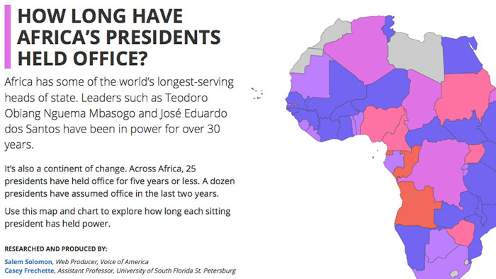 Screenshot for How Long Have Africa's Presidents Held Office?