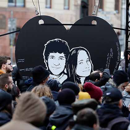 A vigil for Kuciak and Kusnirova is held in Bratislava, on February 21, 2020, on the second anniversary of the couple's murder.