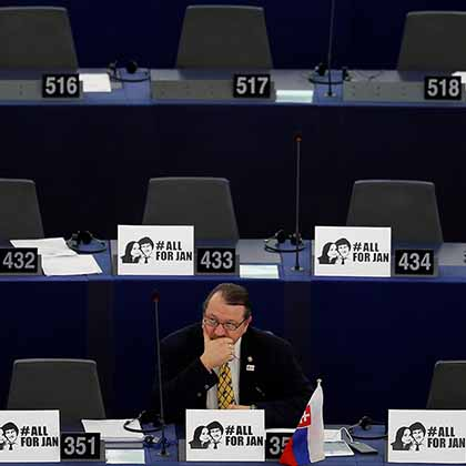 Slovakia MEP Branislav Skripek attends a debate on the protection of investigative journalists in Europe. Kuciak's killing shattered Europe's image as a safe haven for the press.