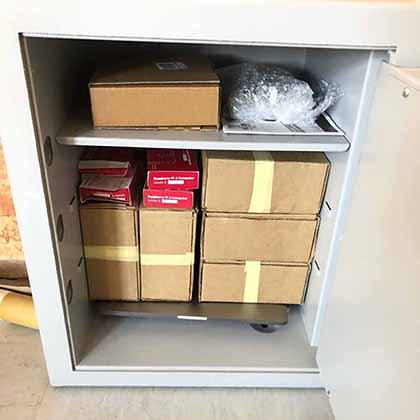 A safe containing just some of the documents that make up the Kocner Library. A select group of journalists are able to access the materials for investigative reporting.