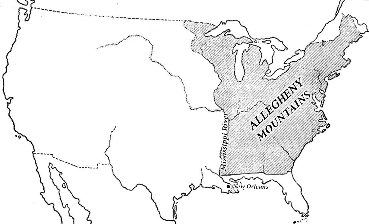 U.S. map showing territory before Louisiana Purchase