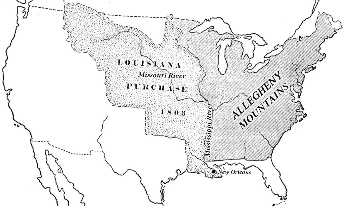 Map of Louisiana Territory Purchase, with Mississippi and Missouri Rivers marked