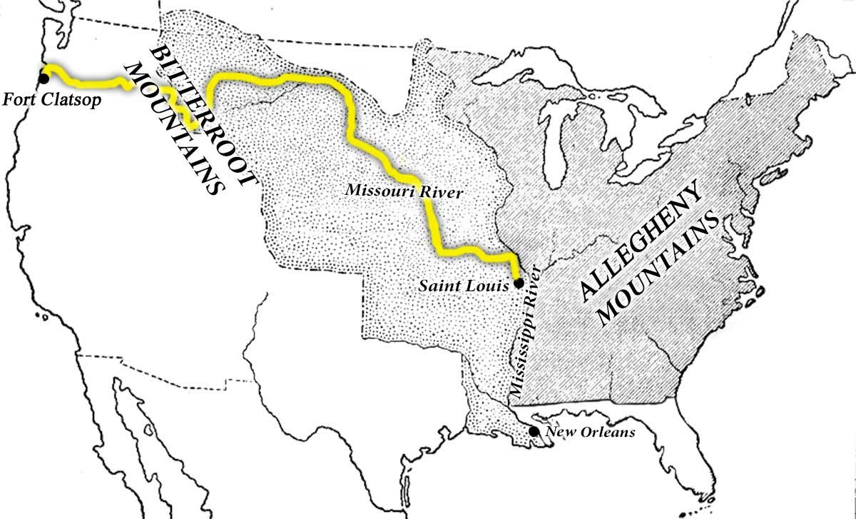 Map showing the route from St. Louis to Fort Clatsup that Lewis and Clark followed
