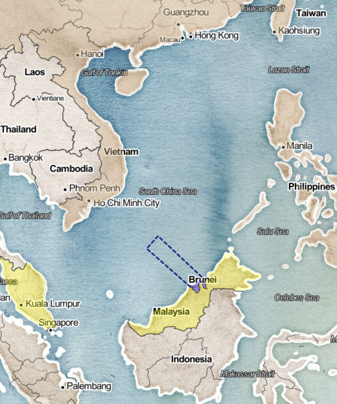 Map of Brunei's claims in the South China Sea