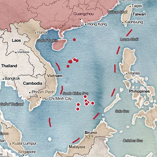 Map of China and the South China Sea