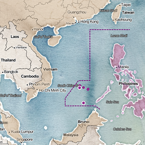 Map of the Philippines and the South China Sea
