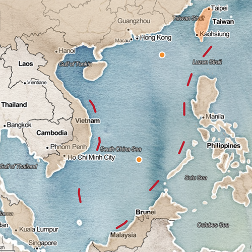 Map of Taiwan and the South China Sea