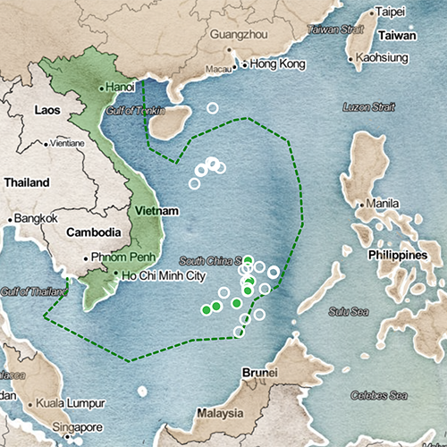Map of Vietnam and the South China Sea